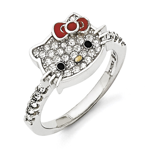 Sterling Silver Hello Kitty Ring with White Crystals