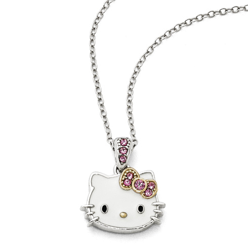 Gold-plated Sterling Silver 18in Hello Kitty Necklace with Pink Crystals