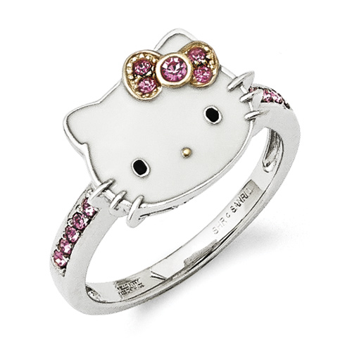Sterling Silver Hello Kitty Ring with Pink Crystals