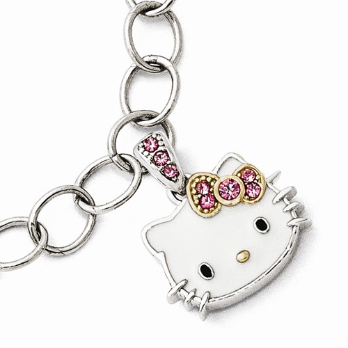 Sterling Silver Hello Kitty Bracelet with Pink Crystals