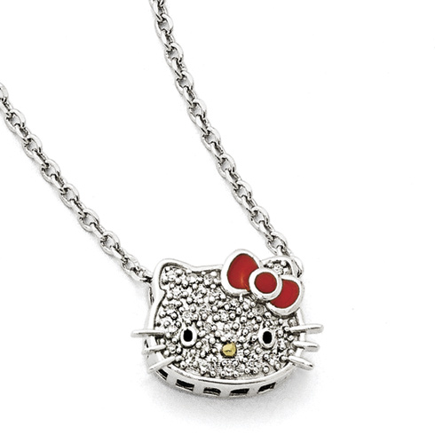 Gold-plated Sterling Silver 18in Diamond Hello Kitty Necklace
