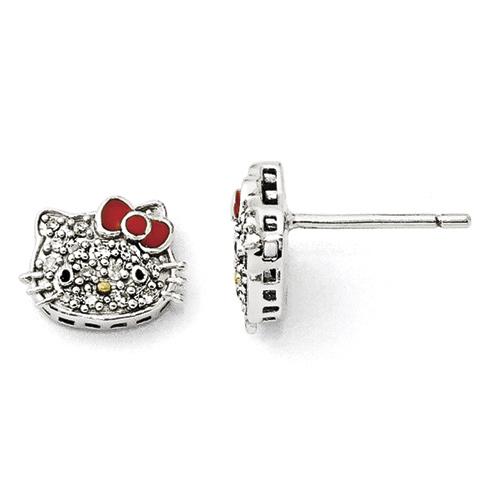 Sterling Silver Hello Kitty Diamond Post Earrings