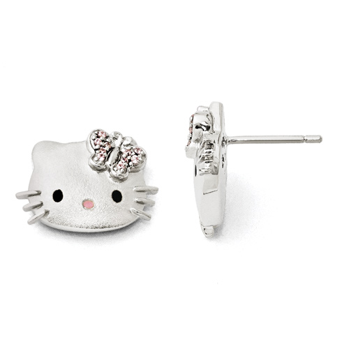 Sterling Silver Hello Kitty Earrings with Swarovski Elements