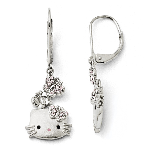 Sterling Silver Hello Kitty Earrings with Butterfly Accents and Swarovski Elements