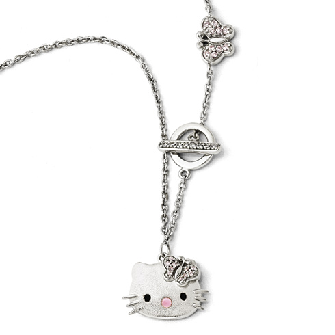 Sterling Silver 16in Hello Kitty Necklace with Butterfly Accents