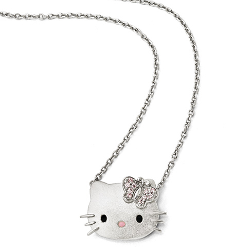 Sterling Silver 18in Hello Kitty Necklace with Pink Crystals