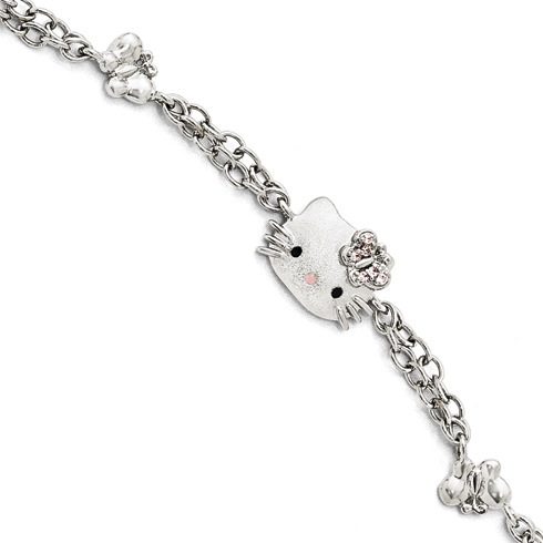 Sterling Silver Hello Kitty Butterfly Bracelet with Swarovski Elements