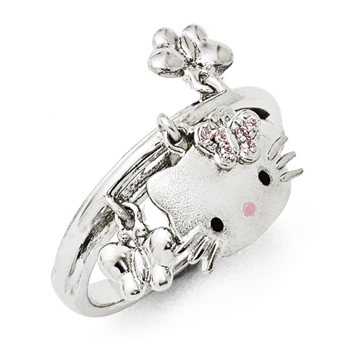 Sterling Silver Hello Kitty Ring with Butterfly Accents