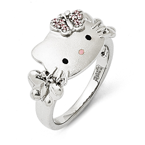 Sterling Silver Hello Kitty Ring with Swarovski Elements