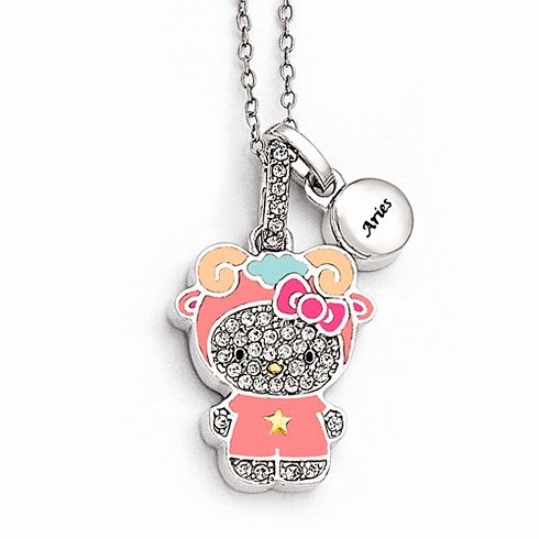 Sterling Silver 18in Hello Kitty Aries Crystal Necklace