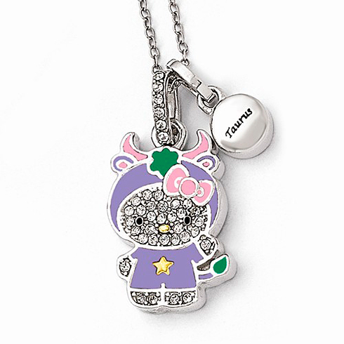 Sterling Silver 18in Hello Kitty Taurus Crystal Necklace