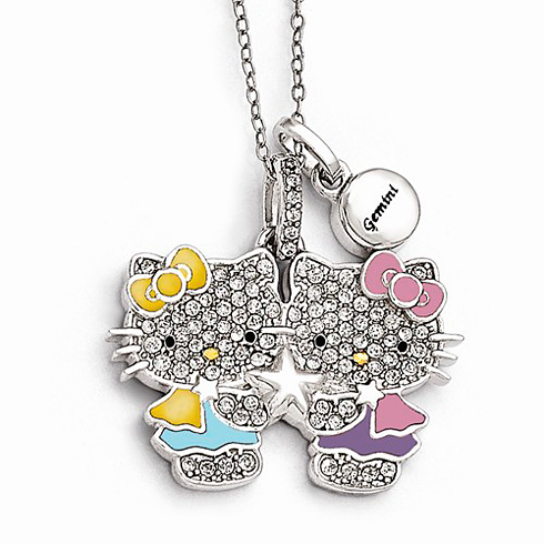 Sterling Silver 18in Hello Kitty Gemini Crystal Necklace
