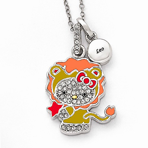 Sterling Silver 18in Hello Kitty Leo Crystal Necklace