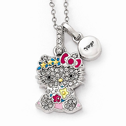 Sterling Silver 18in Hello Kitty Virgo Crystal Necklace