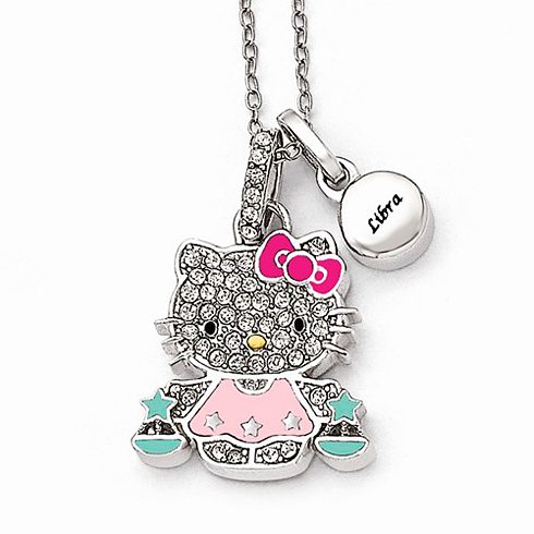 Sterling Silver 18in Hello Kitty Libra Crystal Necklace