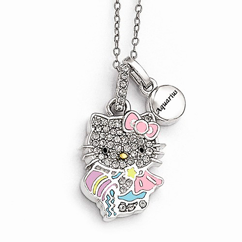 Sterling Silver 18in Hello Kitty Aquarius Crystal Necklace