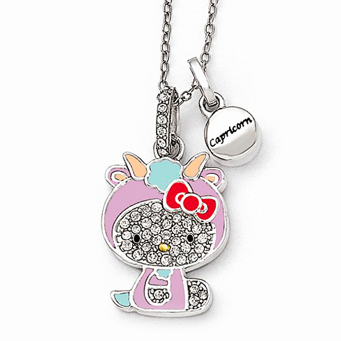 Sterling Silver 18in Hello Kitty Capricorn Crystal Necklace