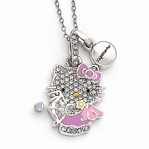Sterling Silver 18in Hello Kitty Sagittarius Crystal Necklace