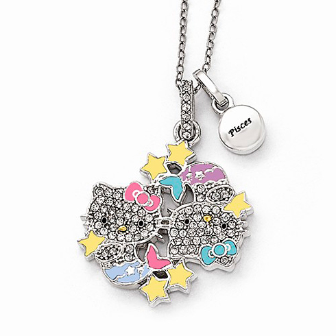 Sterling Silver 18in Hello Kitty Pisces Crystal Necklace