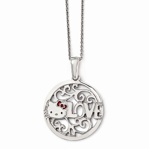 Sterling Silver 18in Hello Kitty Round Love Necklace