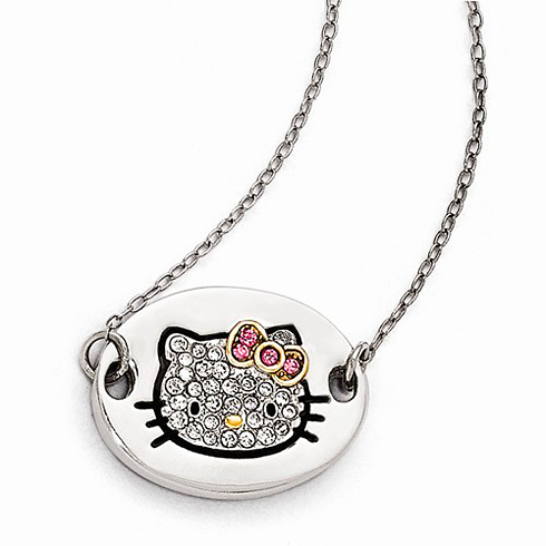 Sterling Silver 18in Hello Kitty Oval Outline Necklace