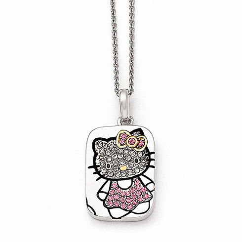 Sterling Silver 18in Hello Kitty Outline Necklace