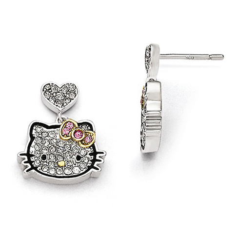 Sterling Silver Hello Kitty Outline Dangle Earrings with Swarovski Elements