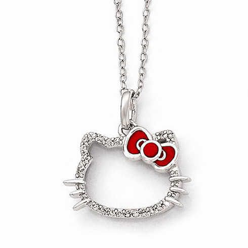 Sterling Silver Hello Kitty Diamond Red Enamel Bow Silhouette Necklace