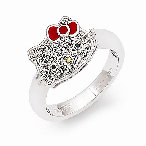 Sterling Silver Hello Kitty Diamond Ring - Size 6
