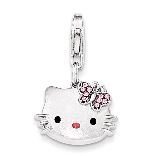 Sterling Silver Hello Kitty Crystal Charm with Lobster Clasp