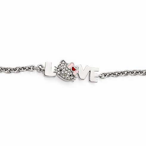 Sterling Silver Hello Kitty LOVE Bracelet