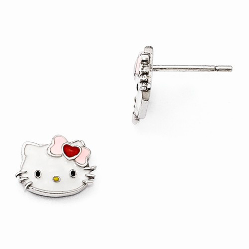 Sterling Silver Hello Kitty Enamel Earrings