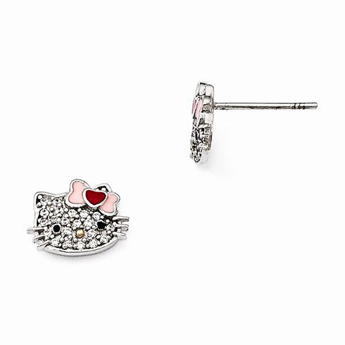 Sterling Silver Hello Kitty Swarovski Stud Earrings
