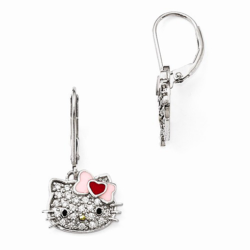 Sterling Silver Hello Kitty Leverback Earrings with Swarovski Elements
