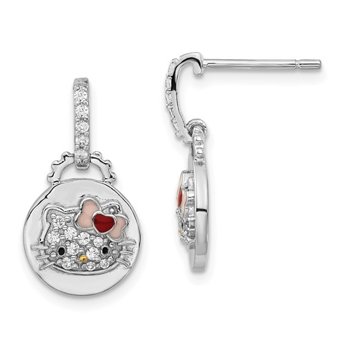 Sterling Silver Hello Kitty Dangle Post Earrings with Swarovski Elements