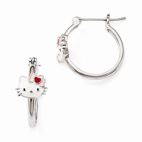 Sterling Silver Hello Kitty Enamel Hoop Earrings