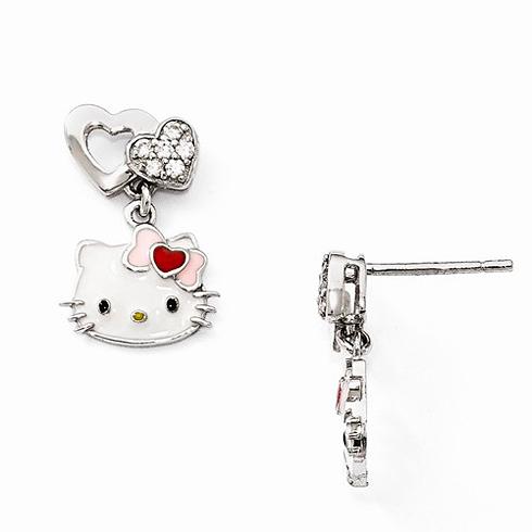 Sterling Silver Hello Kitty Two Heart Dangle Earrings with Swarovski Elements