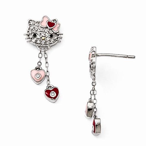 Sterling Silver Hello Kitty Dangle Earrings with Swarovski Elements