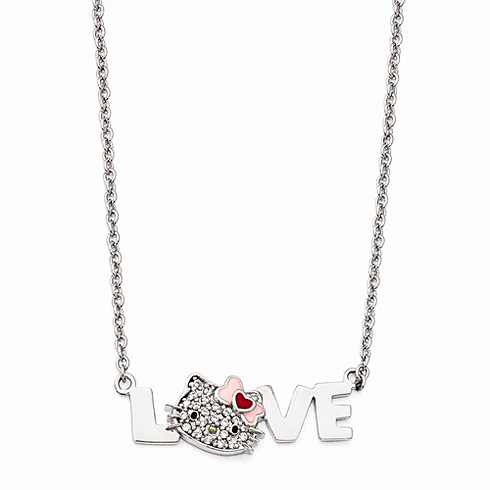 Sterling Silver 18in Hello Kitty Love Necklace