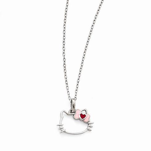Sterling Silver 18in Silhouette Enamel Heart Bow Necklace