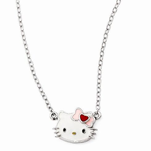 Sterling Silver 16in Hello Kitty Enamel Necklace