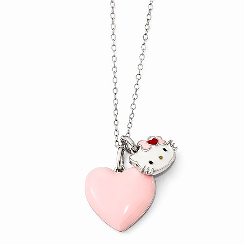 Sterling Silver Hello Kitty Pink Heart Charm Necklace