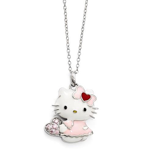 Sterling Silver 18in Hello Kitty Full Body Swarovski Necklace