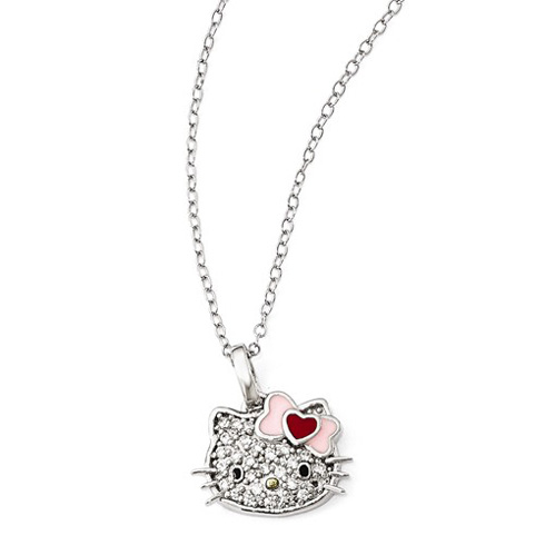 Sterling Silver 18in Hello Kitty Pave Necklace with Swarovski Elements