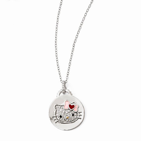 Sterling Silver 18in Hello Kitty Round Swarovski Necklace