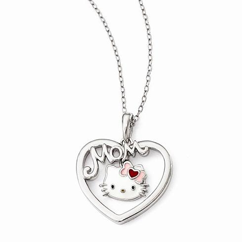 Sterling Silver 18in Hello Kitty Enamel Heart Mom Necklace