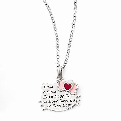 Sterling Silver 18in Hello Kitty Love Enamel Heart Bow Necklace