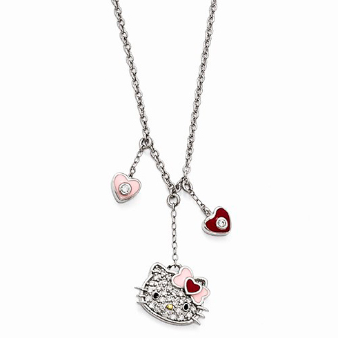 Sterling Silver 18in Hello Kitty Dangle Necklace with Swarovski Elements