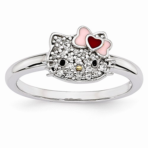 Sterling Silver Hello Kitty Ring with CZs