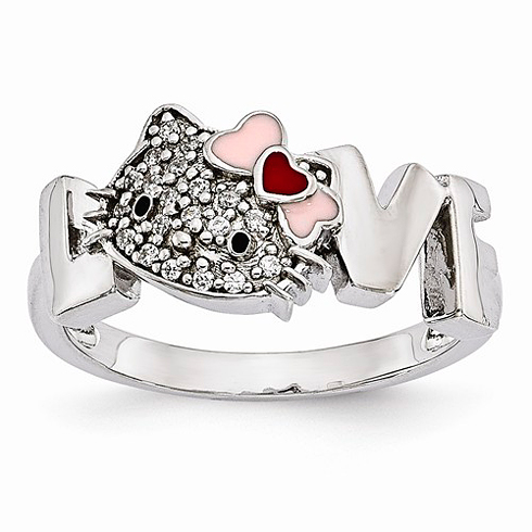Sterling Silver Hello Kitty LOVE Ring